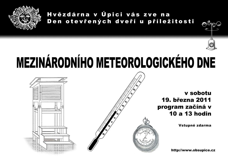 Plakát MEZINÁRODNÍHO METEOROLOGICKÉHO DNE na hvězdárně v Úpici na hvězdárně